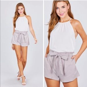 Paper Bag Stripped Tie Shorts